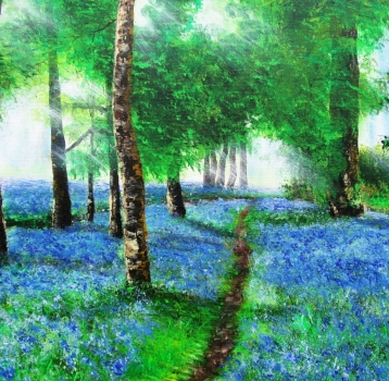 How to Paint Sun rays and Bluebells field