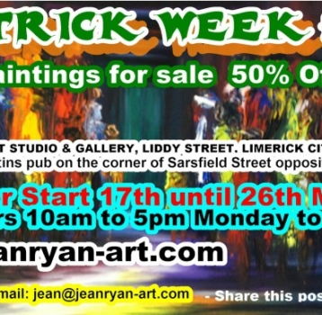 50% OFF THIS St. PATRICK WEEK ONLY ON SELECTED PAINTINGS!